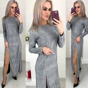 Платье длинное с разрезом на ноге Ш6071