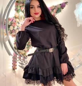 Платье короткое с длинным рукавом черное Х6177