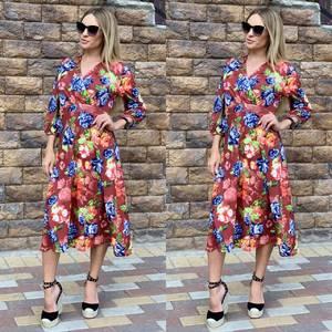 Платье длинное с принтом Ч2381