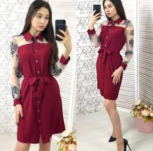 Платье короткое с длинным рукавом Ч1093
