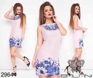 Платье короткое с принтом Ц8791