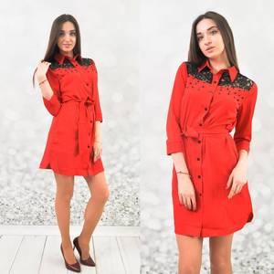 Платье короткое с рукавом 3/4 Ц5365