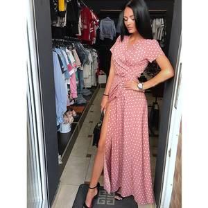 Платье длинное с разрезом на ноге Ч2845