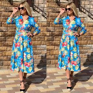 Платье длинное с принтом Ч2386