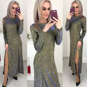 Платье длинное с разрезом на ноге Ш6068
