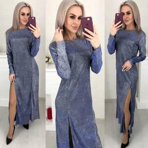 Платье длинное с разрезом на ноге Ш6069