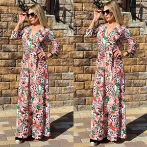 Платье длинное с принтом Ч2389