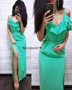 Платье длинное с принтом с разрезом на ноге Х9962