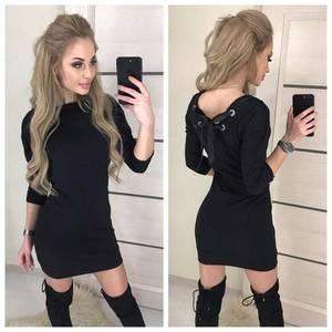 Платье короткое с рукавом 3/4 современное Х8656