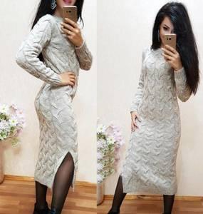 Платье длинное однотонное с разрезом на ноге Х6674