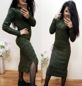 Платье длинное однотонное с разрезом на ноге Х6675