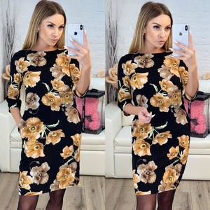 Платье короткое с рукавом 3/4 с принтом Х9515