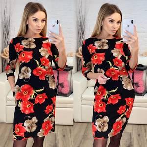 Платье короткое с рукавом 3/4 современное Х9517