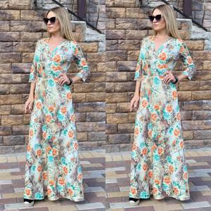 Платье длинное с принтом Ч2392