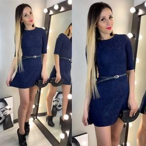 Платье короткое однотонное синее Х6939