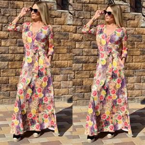 Платье длинное с принтом Ч2393