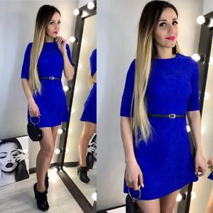 Платье короткое однотонное синее Х6938