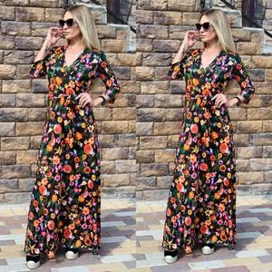 Платье длинное с принтом Ч2394