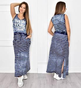 Платье длинное повседневное в полоску Т4817