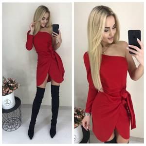 Платье короткое нарядное красное Х6803