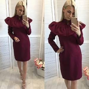 Платье короткое повседневное с длинным рукавом У1111