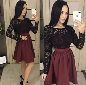 Платье короткое коктейльное с длинным рукавом Х4376