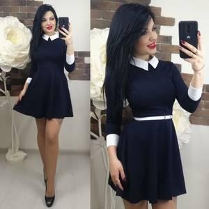 Платье короткое с рукавом 3/4 классическое Х6368