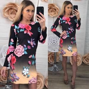 Платье короткое с принтом современное Ф3684