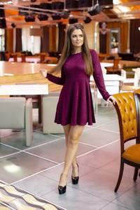 Платье короткое коктейльное с длинным рукавом Ф7855