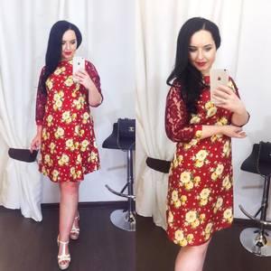 Платье короткое нарядное с принтом Х5045