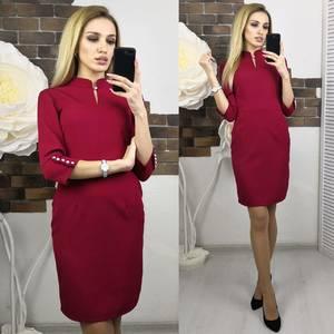 Платье короткое с рукавом 3/4 красное Х5554