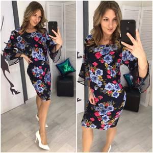 Платье короткое нарядное с принтом Х7056