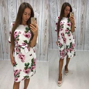 Платье короткое нарядное с принтом Х7484