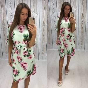 Платье короткое нарядное с принтом Х7485