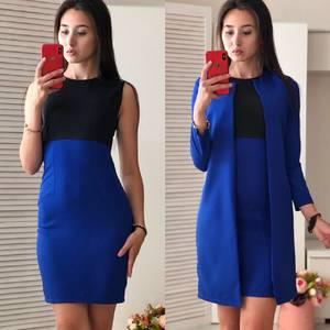 Платье Двойка короткое облегающее синее Ф0696