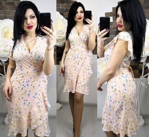 Платье короткое с принтом летнее Х6257
