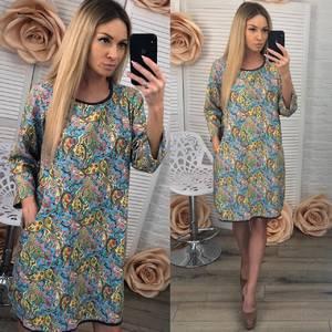 Платье короткое с принтом современное Ф3685