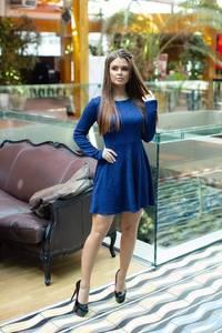 Платье короткое коктейльное с длинным рукавом Ф7856