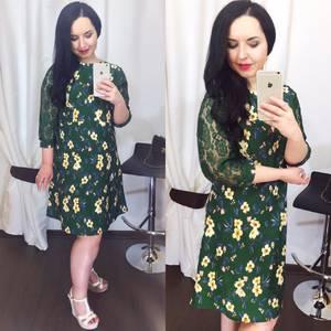 Платье короткое нарядное с принтом Х5046