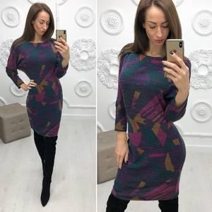 Платье короткое нарядное с принтом Ф2904