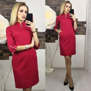 Платье короткое с рукавом 3/4 красное Х5556