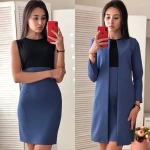 Платье Двойка короткое элегантное синее Ф0700