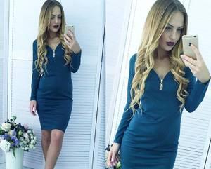 Платье короткое с длинным рукавом облегающее Х7307
