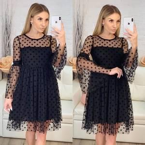 Платье короткое нарядное черное Х1875