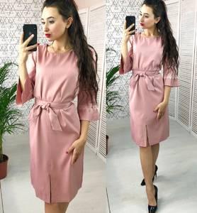 Платье короткое с рукавом 3/4 однотонное Х7691