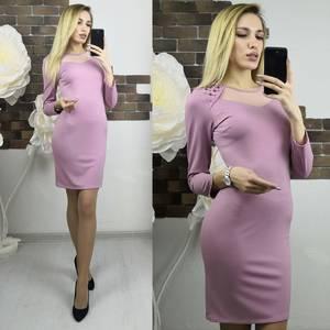 Платье короткое с рукавом 3/4 однотонное Х7477