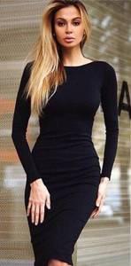 Платье короткое с длинным рукавом облегающее Х7309