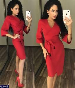 Платье короткое с рукавом 3/4 красное Х7701