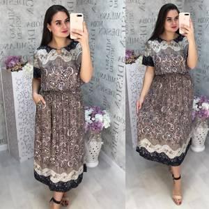 Платье длинное с принтом Ц4419