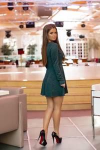 Платье короткое коктейльное с длинным рукавом Ф7857